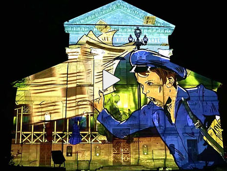 cartoon drawing projection mapping